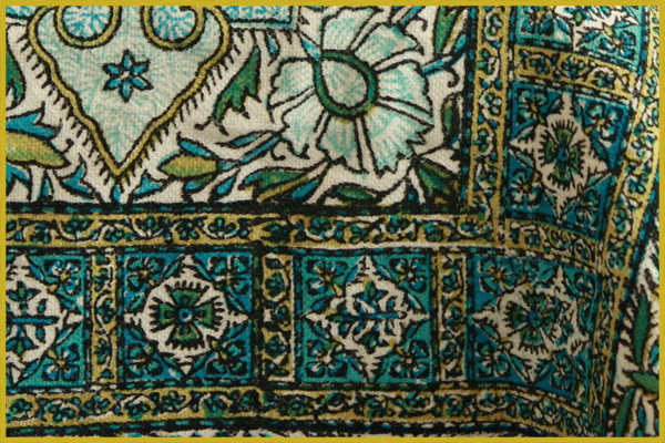 Persian Block Printing on cotton textile Qalamkar (Ghalamkari)